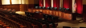 A replica of the U. S. Supreme Court room at Liberty University law school